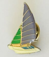 Catamaran Purple Green Sailing Lapel Pin Badge Brooch Vintage (C14)