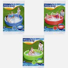Bestway Planschbecken 3-Ring Kinderpool 152cm aufblasbar Rot/Grün/Blau