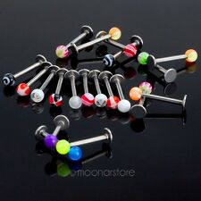 20× Colorful Stainless Steel Lip Monroe Labret Ring Bar Stud Body Piercing MS021
