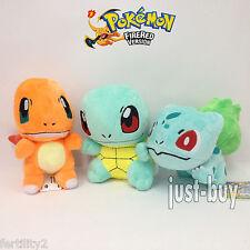 "3X Bulbasaur Charmander Squirtle Plush Pokemon Soft Toy Stuffed Animal Teddy 6"""