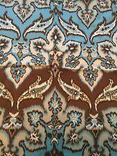 DURALEE BROWN AQUA BLUE BOLD FLORAL PIMA COTTON 25x25 Fabric Remnant Sample New