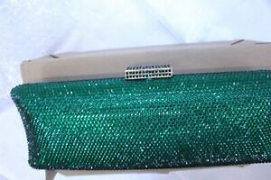 Women's Green Sequin Jewel Clutch with Removeable Gold-tone Shoulder Strap