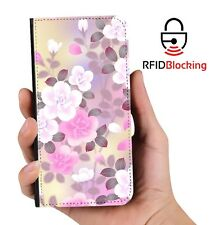 RFID Protected Pink White Flowers PU Leather Wallet Case Cover Samsung Galaxy