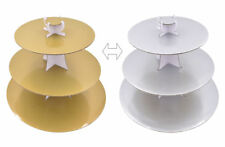 SFK Delish Treats 3 Tier Reversible Cupcake Stand (Gold-Silver)