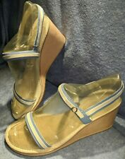 ANN TAYLOR LOFT~ SEXY STRAPPY LIGHT BLUE/BEIGE SUEDE WEDGE SANDALS ~ Size 8 M