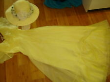 Victorian Emma day dress yellow chiffon yellow brim hat S 4