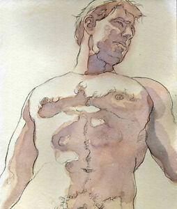ORIGINAL LARGE MALE NUDE Watercolor - TITUS - by GERMANIA