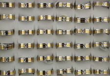 Wholesale Lots 32pcs Stainless Steel Clear Cubic Zirconia Men's Fashion Rings