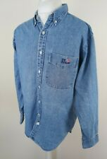 Mens Ralph Lauren Denim Shirt Usa Polo Blue Large 48 Chest