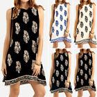 Women Summer Floral Sundress Vintage Boho Plus Size Short Club Beach Party Dress