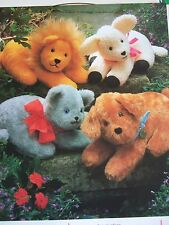 Vintage SEWING PATTERN Jean Greenhowe FOUR FURRY TOYS Lion Cat Dog LambToy