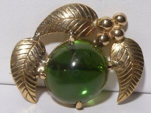 Art Deco 14k Yellow Gold Guanine Green Peridot Brooch Pin Vintage