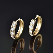 New Women Fashion Jewelry 14k Gold Filled Sapphire Crystal Small Hoop Earrings