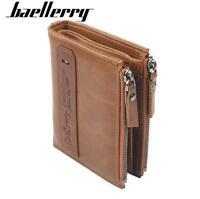 Men's Genuine Leather Cowhide Wallet Double Zipper Credit Card ID Holder Purse
