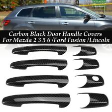 Carbon Fiber Black 4 Door Handle Cover For Mazda 2 3 5 6 /Ford Fusion /Lincoln