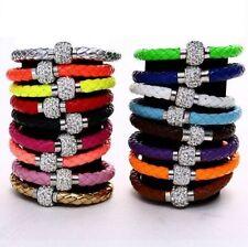3pcs Crystal Diamante Shambala Leather Magnetic Wrist Band Bracelet UK stock