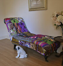 Silk Velvet Patchwork Antique Style Buttoned Chaise Lounge Day Bed Settee /Sofa