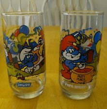 Vintage Smurfs Drinking Glasses Papa Smurf Set of 2
