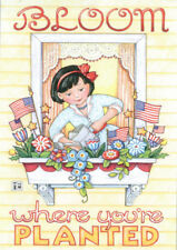 July 4th Bloom Where You'Re Planted Flags-Handmade Magnet-w/Mary Engelbreit art
