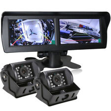 "Dual CCD Reversing Camera+4.3"" Dual Screen Rearview monitor 12-24v Truck Trailer"