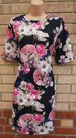 G21 BLACK PINK GREEN FLORAL ROSE BAGGY TUBE BODYCON TUBE PENCIL TEA DRESS 12 M