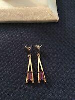 Vintage AVON Faux Amethyst Drop Dangle Earrings Pierced Purple Lilac