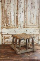 Vintage Wood Wicker Riser, Farmhouse Wicker Stool- Small