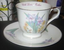 WITH LOVE, MOTHER Fine Porcelain Cup & Saucer Russ Mother's Day Floral Japan