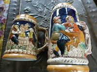 2 Chopes colorées Alsaciennes ! 12 et 18 cm H !! collector ou usage