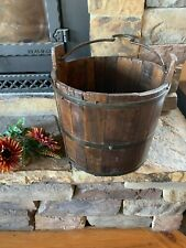 New listing Vintage Wooden Primitive Water Bucket, Rustic, Farm, Well, Iron Handle, Antique