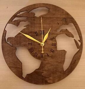 Holz-Wanduhr Globus Weltkarte Nussbaum