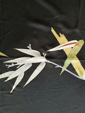 "New ListingVintage tomesode silk Japan Hawaiian fabric panel 48""x14"" bamboo leaves"