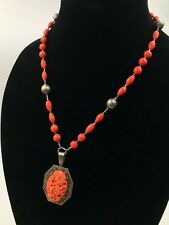 Antique Art Deco Carved Celluloid Coral Glass Necklace Czech Sterling Silver WOW