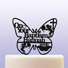 Personalised Baptism Boy / Girl Acrylic Butterfly Cake Topper Decoration