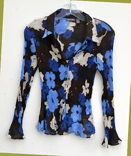 Apt. 9 Womens Blouse Size PS Mini Pleated Button Down Black Blue sheer Floral