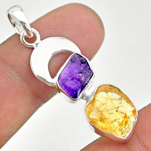925 Silver 9.37cts Natural Yellow Citrine Rough Amethyst Moon Pendant T33612