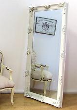 "Abbey Vinatge Cream Large Shabby Chic Wall Leaner Mirror - 2'7"" x 5'5"" (31""x65"")"