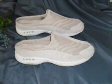 Easy Spirit Traveltime 9M Beige Leather Mesh Slip On Sneakers Clogs Slide Mules