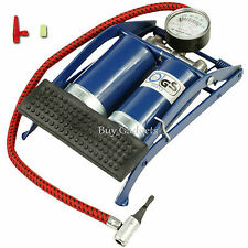 NEW TWIN DOUBLE BARREL CYLINDER AIR INFLATOR FOOT PUMP CAR VAN BICYCLE BIKE TYRE