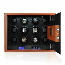 Automatic Watch Winder 12 Watches Security Safe Winding Box Password Lock