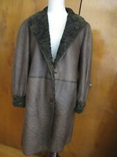 Custom Made Karakul Persian Lamb Womens Brown Reversible Winter Coat XLarge