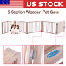 """17.5"""" 5 Panel Pet Dog Fence Free Standing Folding Solid Wood Playpen Gate Room"""