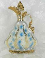 Vintage 1970 Jim Beam Decanter Bottle Gold Blue Floral 155 Months Whiskey Empty