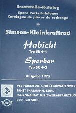 Ersatzteil-Katalog Simson Moped SPERBER HABICHT SR 4-4 Typ SR 4-3 Vogelserie NEU