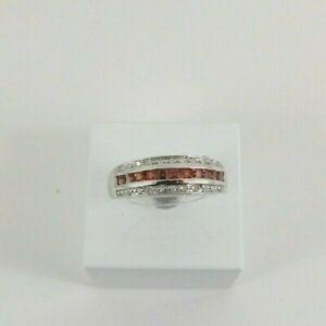 9ct Gold Diamond Garnet Ring Band White Eternity NEW Hallmarked Size M Gift Box