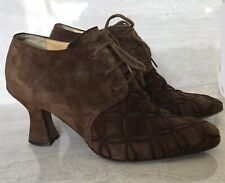 ROBERTO BOTTICELLI Italian Suede Leather Bootie Heel Laces Embroidered  Eur 37.5