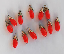 VINTAGE 12 GLASS BEAD PENDANTS CHERRY RED & GOLD BEAD CAP • JAPAN • 15mm