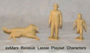 Marx reissue Lassie playset character figures x 3  in tan plastic