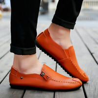 Mens Casual Leather Shoes Driving Lazy Loafers Peas Moccasins Slip On Flats
