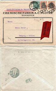 DR 1919, 3 Marken auf Eilboten Brief v. Hannover m. Leipzig Rohrpoststempel